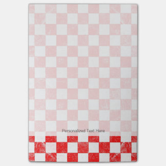 Grunge red checkered, abstract background post-it notes
