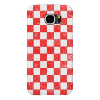 Grunge red checkered, abstract background samsung galaxy s6 cases