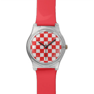 Grunge red checkered, abstract background watch