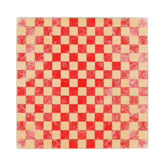 Grunge red checkered, abstract background wood coaster