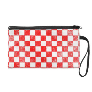 Grunge red checkered, abstract background wristlet