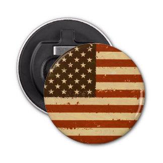 Grunge Retro American Flag Button Bottle Opener