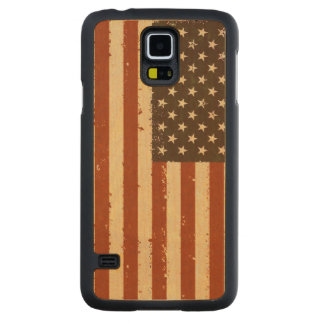 Grunge Retro American Flag Carved Maple Galaxy S5 Case