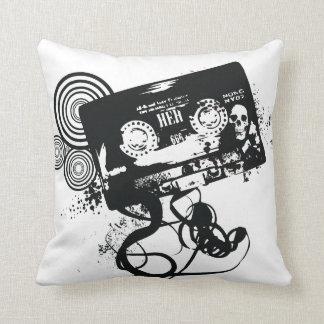 Grunge Retro Audio Tape & Skull Throw Cushion
