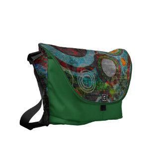 Grunge Retro Circles Green, Red, Blue, Orange Courier Bag