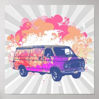 grunge retro hippie van poster