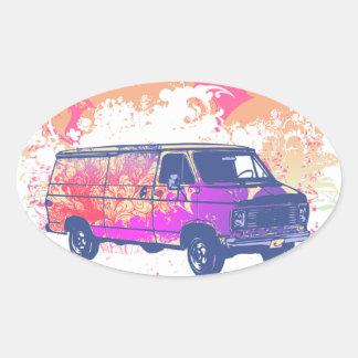 grunge retro hippie van round stickers