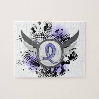 Grunge Ribbon And Wings Addison s Disease Jigsaw Puzzle