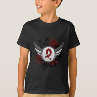 Grunge Ribbon And Wings Amyloidosis T-Shirt