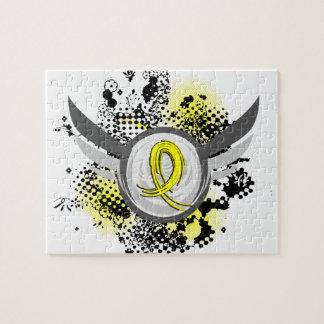 Grunge Ribbon and Wings Spina Bifida Jigsaw Puzzles