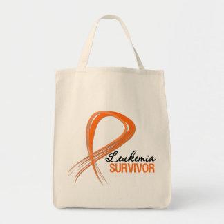Grunge Ribbon Leukemia Survivor Bags