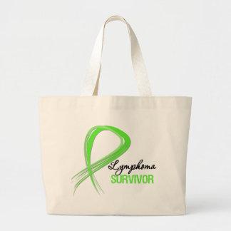 Grunge Ribbon Lymphoma Survivor Tote Bags