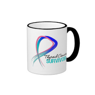 Grunge Ribbon Thyroid Cancer Survivor Coffee Mug