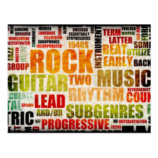 Grunge Rock and Roll Music Poster Art Background Postcard