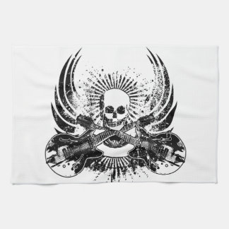 Grunge Rock Skull with Guitars Kitchen Towel