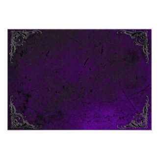 Grunge Rose Damask Gothic Note Card Announcements