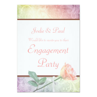 Grunge Rose Pastel Wedding - Engagement Invitation