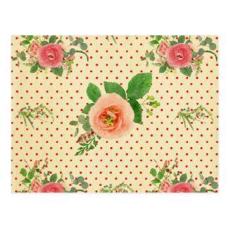 Grunge,rustic,vintage,floral,coral,victorian,girly Postcard