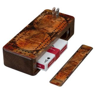 Grunge Rustic Vintage Old World Map Design Walnut Cribbage Board