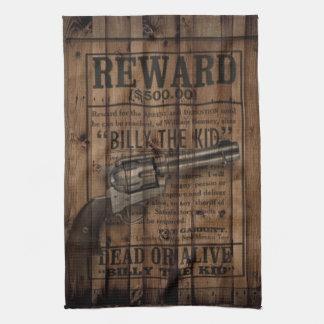 grunge rustic western billy the kid reward gun hand towel
