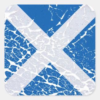 Grunge Scottish Flag Square Sticker