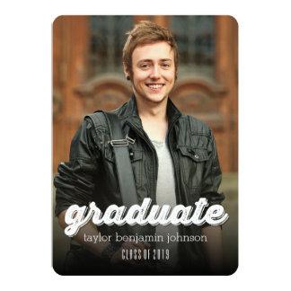 "Grunge Script Simple Graduation Photo Announcement 5"" X 7"" Invitation Card"