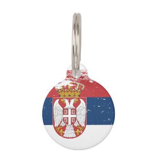 Grunge Serbia Flag Pet Tag