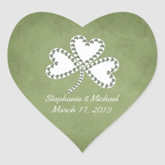Grunge Shamrocks Irish Wedding Stickers