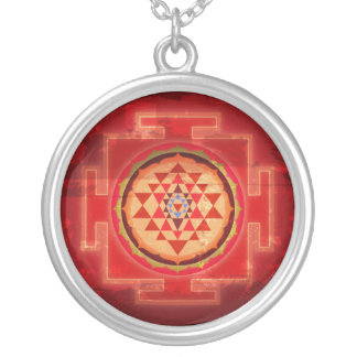 Grunge Shree Yantra Silver Plated Necklace