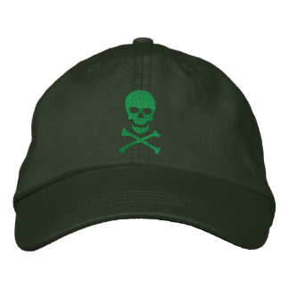 Grunge Skull and Crossbones Embroidered Cap