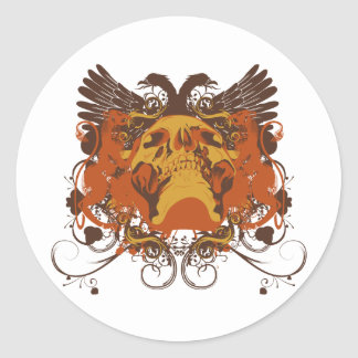Grunge Skull and Wings Coat Of Arms Classic Round Sticker