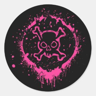 Grunge Skull Classic Round Sticker
