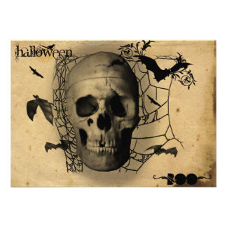 Grunge Skull Halloween Party Custom Announcements