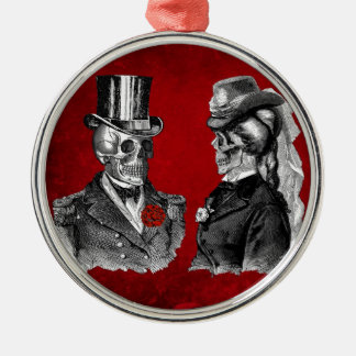 Grunge Skull Skeleton Couple Christmas Ornament