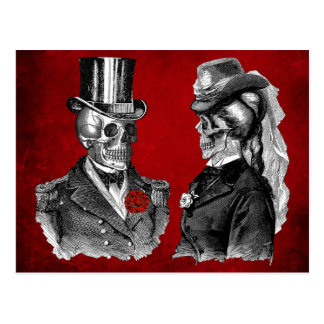 Grunge Skull Skeleton Couple Postcard