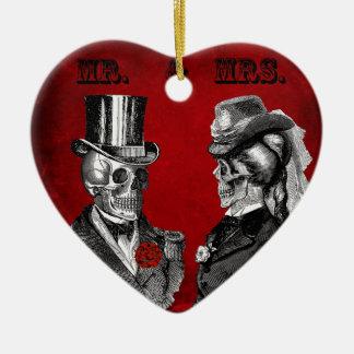 Grunge Skull Wedding & Anniversary Party Ceramic Heart Decoration