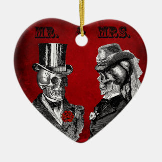 Grunge Skull Wedding & Anniversary Party Christmas Ornament