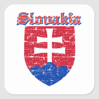 Grunge Slovakia coat of arms designs Square Sticker