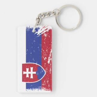 Grunge Slovakia Flag Double-Sided Rectangular Acrylic Key Ring