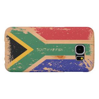 Grunge South Africa Flag on Wood