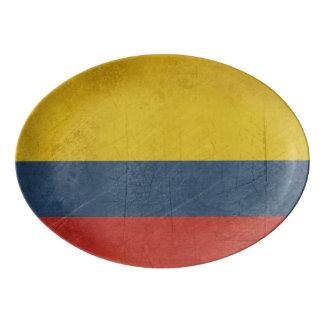 Grunge sovereign state flag of country of porcelain serving platter
