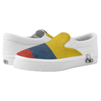 Grunge sovereign state flag of country of slip on shoes