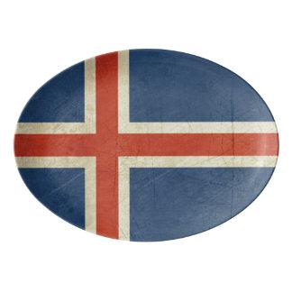 Grunge sovereign state flag of Iceland Porcelain Serving Platter