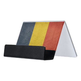 Grunge sovereign state flag of Romania Desk Business Card Holder