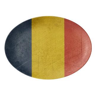 Grunge sovereign state flag of Romania Porcelain Serving Platter