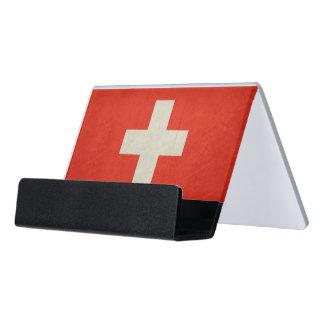 Grunge sovereign state flag of Switzerland Desk Business Card Holder