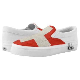 Grunge sovereign state flag of Switzerland Slip On Shoes