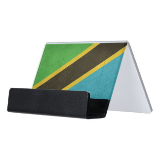 Grunge Sovereign state flag of Tanzania Desk Business Card Holder
