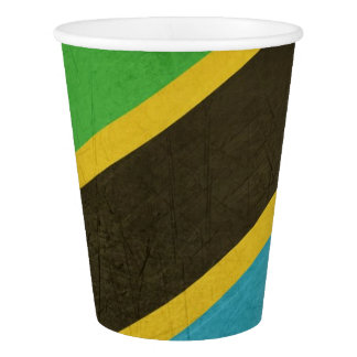 Grunge Sovereign state flag of Tanzania Paper Cup
