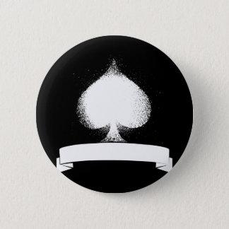 Grunge Spade in White 6 Cm Round Badge